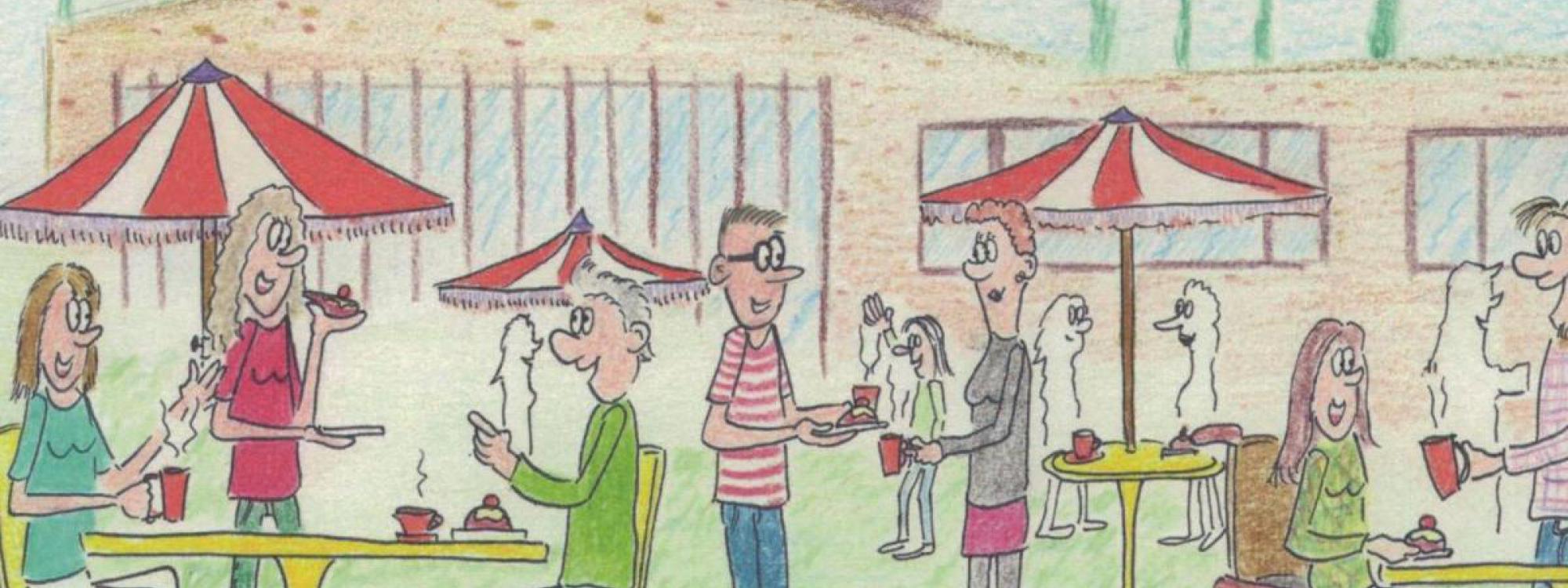 uitnodiging voor het buurtfeest was een tekening gemaakt door Wijnand